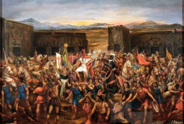 Depiction of the Battle of Cajamarca