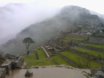 Ancient ruin on a misty day