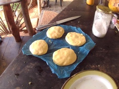 Preparing food - Arepas