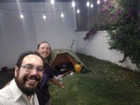 campinh in someones garden